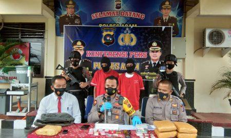 Waka Polres Agam, Kompol Syafril saat Konfrensi Pers penangkapan pengedar ganja di Mako Polres Agam, Kamis siang (22/4).