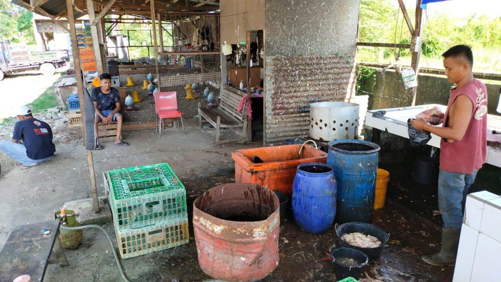Caption. Jamin,Pedagang ayam di bypass kalumbuk menyiapkan pesanan pelanggan